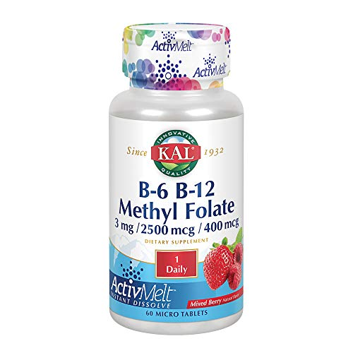 KAL Vitamin B-6 B-12 Methyl-Folate ActivMelt | 60 Tablets