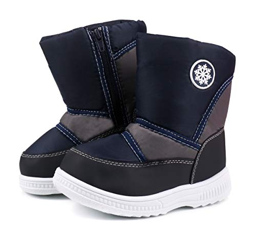 LONSOEN Toddler Winter Boots for Girls Boys Lightweight Comfy Cold Weather Warm Short Boots,KDB028 Deep Blue CN29