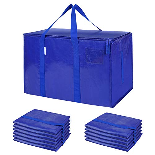 TICONN 12 Pack Extra Large Moving Bags with Zippers & Carrying Handles, Heavy-Duty Storage Tote for Space Saving Moving Storage (Blue)