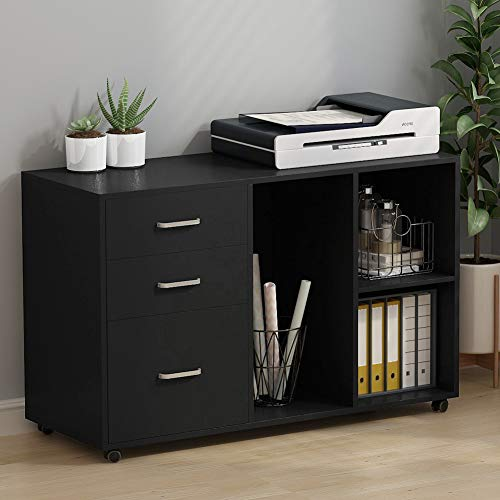 Tribesigns 3 Drawer Wood File Cabinets, Large Modern Lateral Mobile Filing Cabinets Printer Stand with Wheels, Open Storage Shelves for Home Office,Black