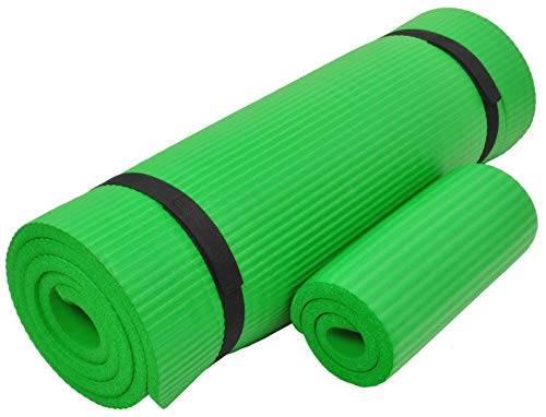 Everyday Essentials 1/2-Inch Extra Thick High Density Anti-Tear Exercise Yoga Mat with Knee Pad and Carrying Strap, Green