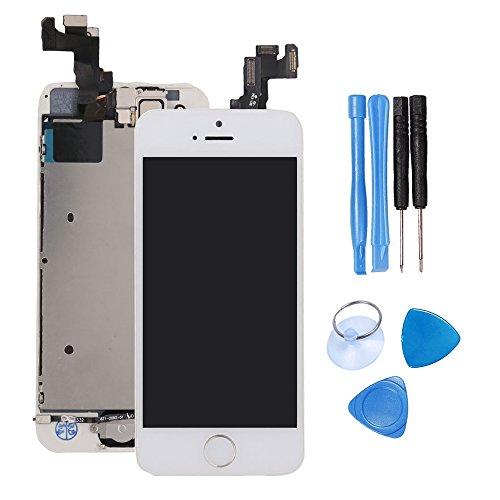 Pannello Bianca Schermo LCD per iPhone 5S Display LCD Touch Screen Digitizer Parti di Ricambio (Con Home Pulsante, Fotocamera, Sensore Flex) Display Completo Utensili Inclusi