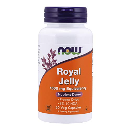 Now Supplements, Royal Jelly 1500 Mg With 10-Hda (Hydroxy-D-Decenoic Acid), 60 Veg Capsules - Nutrient enriched super food (Packaging may vary)