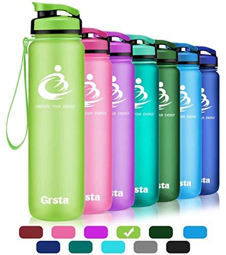 Grsta Sport Trinkflasche Wasserflasche Auslaufsicher, Eco Friendly BPA Frei Tritan Kunststoff Flaschen mit Frucht Filter, Sporttrinkflasche für Kinder, Gym, Yoga, Laufen, Camping, Büro