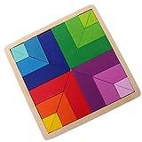 PROW Degradado Color Rompecabezas Madera Bloques de Construcción de Madera Tangram Juguetes Educativos Seguros Desarrollar el Pensamiento Lógico para Niños Adultos (Forma Cuadrada)