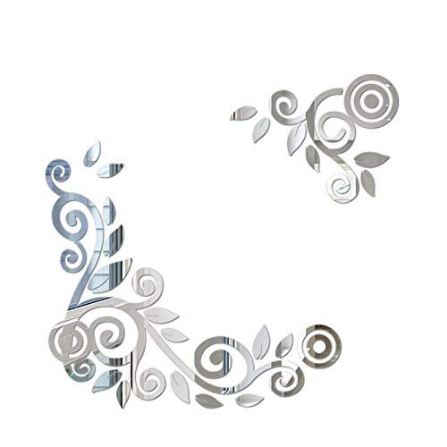 YWLINK 2PC / 1Set 3D DIY Forma De La Flor De AcriLico Etiqueta De La Pared Pegatinas Modernas DecoracioN