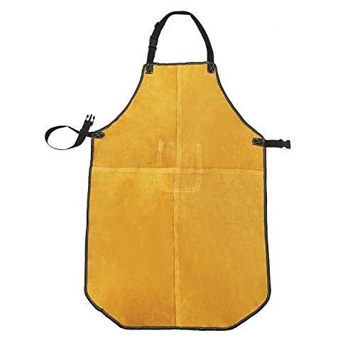 Mufly Schweißerschürze Flammhemmende Schweißschürze Spaltleder-Schürze Schweißschürze Arbeitskleidung Schutzkledung mit Tasche Beim Schweißen (W24/L36 Zoll, Braun)