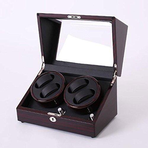 Caja Giratoria para Relojes Devanadera automática del reloj de la lujo, lujo 4 de la exhibición de almacenamiento de cuero de la caja de la devanadera de la caja automática de la rotación Caja de alma