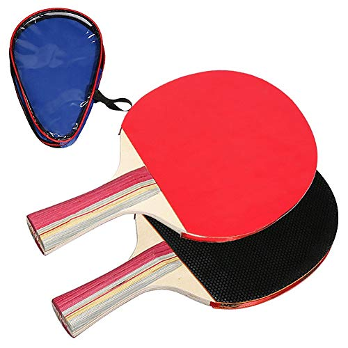 LHAA Mesa de ping pong Deportes Entrenamiento Conjunto, paletas de ping-pong Mesa de ping pong raquetas 2 de mango largo con el bolso de Formación al aire libre Fácil Sporting Decoración Estudiantes A