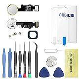 OKBICHI Botón de Inicio para iPhone 7/7 Plus y iPhone 8/8 Plus (Dorado) con Flexible Cable de Repuesto - Herramienta de Reparación con Protector de Pantalla