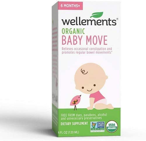 Wellements Organic Baby Constipation Support, 4 Fl Oz, 2 Count, Free from Dyes, Parabens, Preservatives-Packaging May Vary