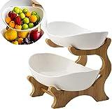 Cratone 6 Stück Obst Etagere 2 Etagen Keramik 2 Stöckig Obstschale mit Bambus ständer, Snack Bonbon Platte Obstteller Wohnzimmer Deko