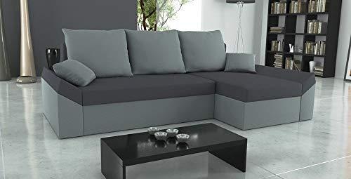 Sofini Ecksofa Denver mit Schlaffunktion! Best Ecksofa! Couch mit Bettkästen! (Haiti 15+ Haiti 14)