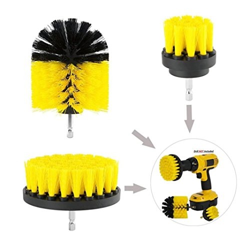 Yeefant 3Pcs Durable Grout Power Scrubber Nylon Cleaning Brush Tub Cleaner Combo Tool Kit for Clean Bathtub Bathroom Surface Floor Tile Shower Toilet Carpet, Not Included Electric Drill,Yellow