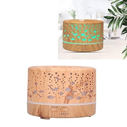 Humidificador de luz LED, control remoto Humidificador de grano de madera inteligente elegante de 7 colores para sala de yoga Sala de estudio para dormitorio(Transl)