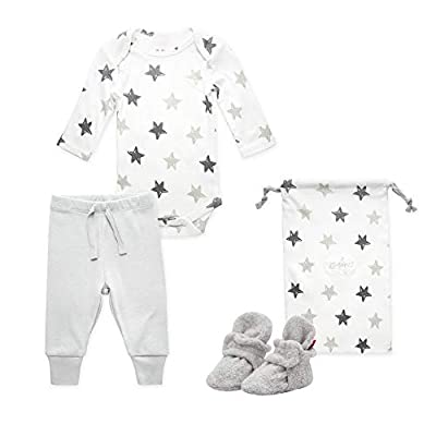 Zutano Baby Booties Gift Set, Stars 3pc, Gray, 3M