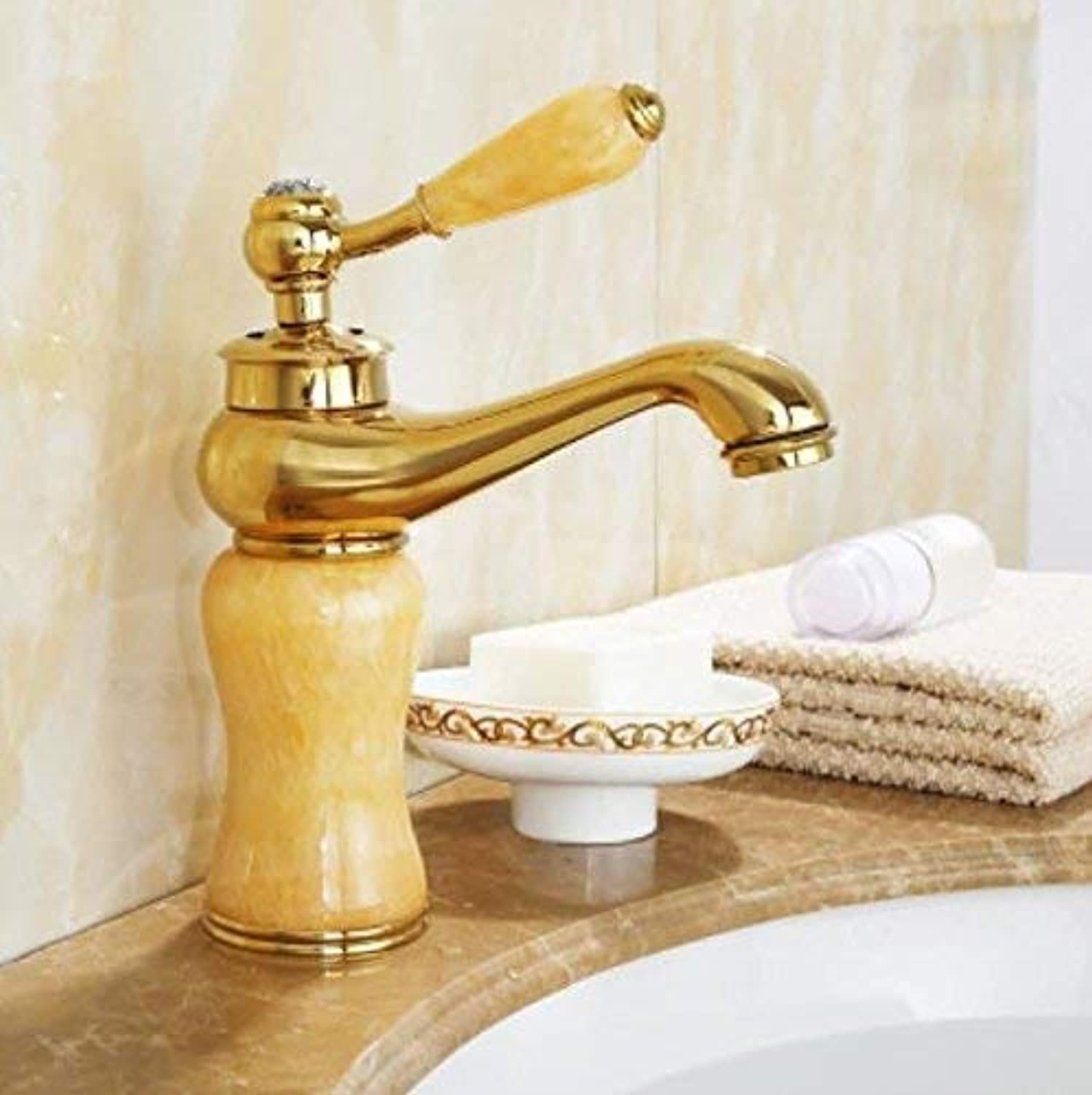Oudan European Style All Copper Antique Faucet Washbasin, Cold and Hot pink gold Bathroom Cabinet, gold Jade Faucet, Single Hole Ceramic Disc Spool, Hose with You. (color   -, Size   -)