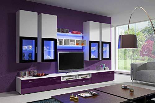 Herby Wohnwand Anbauwand Elafonisi Hochglanz Fronten Led Beleuchtung Schrankwand in 4 Farben 07 (Weiß+Lila)