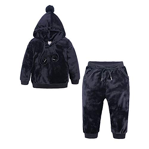 Kids Tales Boys Girls 2Pcs Velour Hooded Tracksuit Tops Elastic Pants Outfit Set(12M-8T) Red