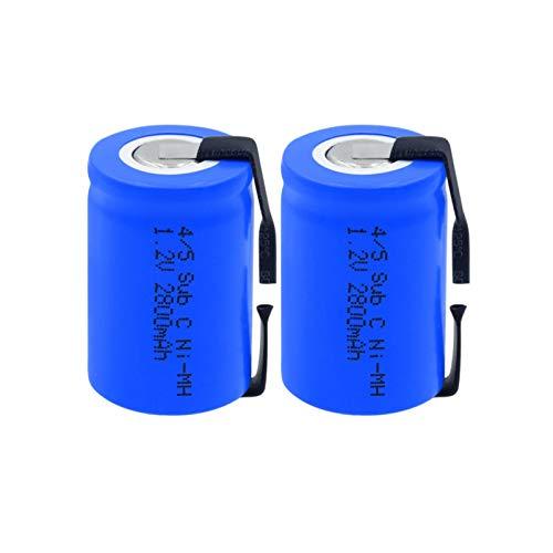 TTCPUYSA 1.2v 2800mah 4/5 Sub C (4 / 5sc) Batería Ni Mh Recargable, con LengüEtas De níQuel para Soldar para Herramientas EléCtricas, Maquinilla De Afeitar EléCtrica 2Pieces