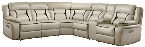Homelegance Amite 6-Piece Power Reclining Sectional Sofa with Cup Holder Console Leather Gel Matched, Beige