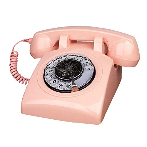 Artisam Antique Phones Landline - Telefono vintage con dial rotatorio clásico de los años 30 (rosa)
