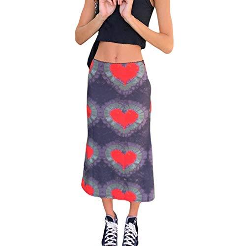 Damen Böhmischer Rock mit hoher Taille Herzdruck Y2K Midirock A-Linie Bodycon Bleistift Langer Rock E-Girl 90S Streetwear (rot, S)