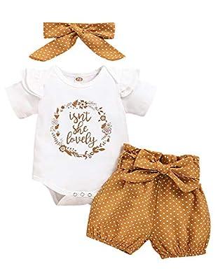 Newborn Baby Girl Clothes Ruffle Sleeveless Romper Bodysuit +Pants + Headband 3 PCS Outfits Set (0-3 Months, Khaki)