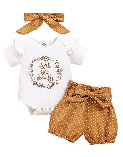 Newborn Baby Girl Clothes Ruffle Sleeveless Romper Bodysuit +Pants + Headband 3 PCS Outfits Set (0-3 Months, Khaki)