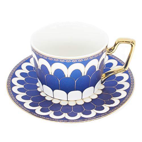 Tea Coffee Cups-6.8oz Bone China Ceramic Beautiful Blue Matte Glazed Tea Cup with Matching Saucers Father