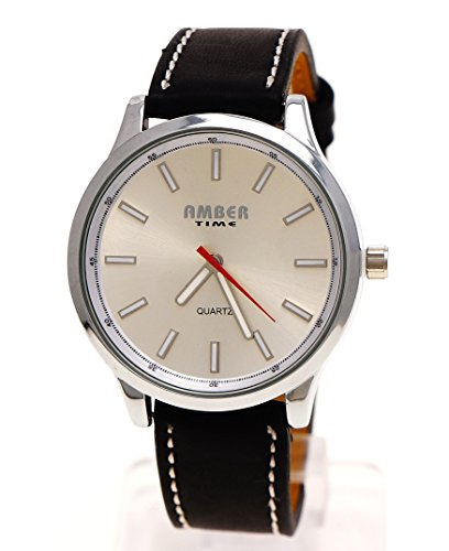Klassische Herren Uhr in Schwarz Silber