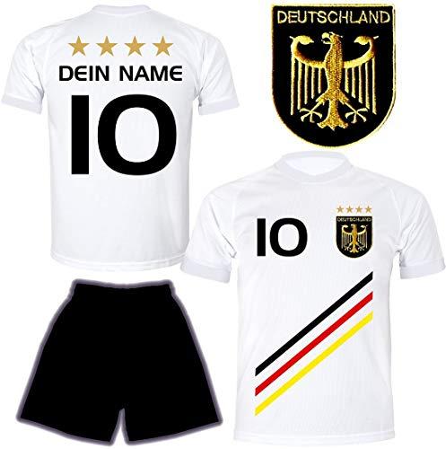 DE-Fanshop Deutschland Trikot mit Hose & GRATIS Wunschname + Nummer #D13 2021 2022 EM/WM Weiss - Geschenk für Kinder Jungen Baby Basketball T-Shirt personalisiert