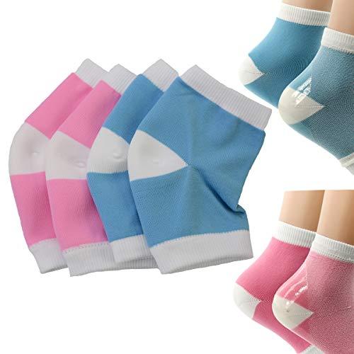 Makhry 2 paar Hydraterend Siliconen Gel Heel Sokken voor Droge Huid Open Teen Comfortabele Herstel Sokken (Blauw&roze)