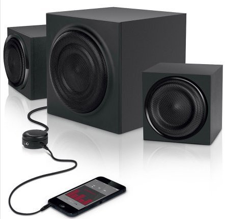 Great Deal! 2.1 Computer Speakers with Subwoffer and AUX Cable Bundle