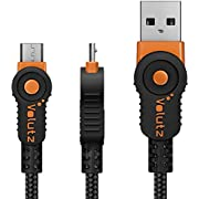 Volutz Micro USB Kabel, 1m nylonummanteltes Ladekabel, Quick Charge & Sync für Android Geräte, Samsung, PS4, Huawei, HTC, Sony u.v.m. - (Orange)