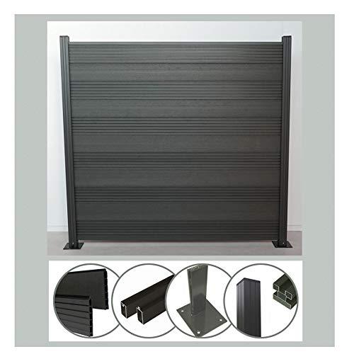 Komplettset WPC Zaun Steckzaun Sichtschutz (Höhe 185 cm/Breite 180 cm) mit Pfosten (1950 mm) zum Aufdübeln anthrazit (Serie WoodoTexel) (1 x Zaun + 2 Pfosten + 2 Pfostenträger)