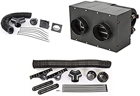 JEGS Auxiliary Heater & Duct Kit | 260 CFM Airflow | 28,000 BTU of Heat | Dual Front Vents | 3-Speed Fan | 12-Volt | Includes Heater Assembly, Defroster Kit, And Louver/Vent Kit: image