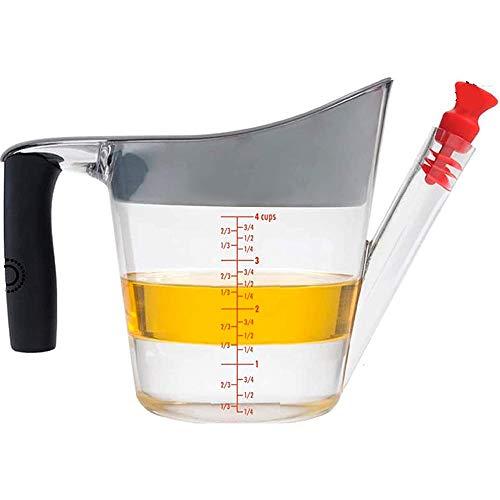 Mungowu Separador de Salsa y Vaso Separador de Grasa - con Colador y Tapones, Recipiente de Gran Capacidad para Grasa y Aceite, 1-2 L