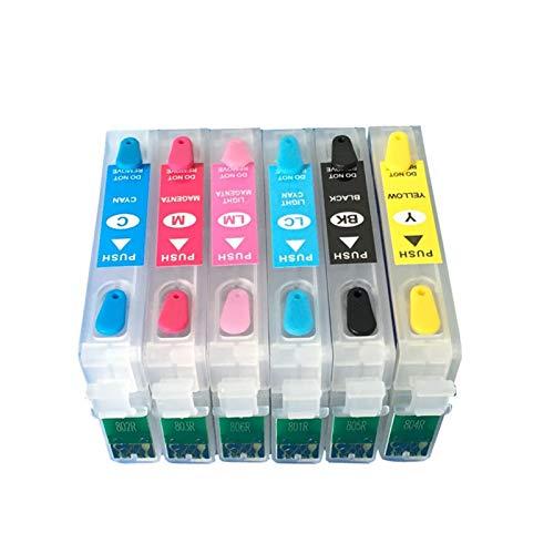 WSCHENG Nuevo T0801-T0806 Cartucho de Tinta Recargable para Epson P50 RX660 R265 R360 RX560 R285 RX585 PX700 PX710 PX810 Impresora con Chips