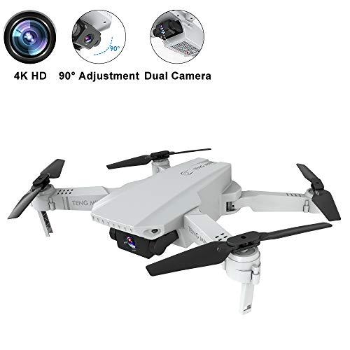 Mini Dron con Cámara 4K HD, Dual Cámara Posicionamiento de Flujo óptico, Altitude Hold, Modo sin Cabeza, Vuelo de Trayectoria, Foto Gestual, WiFi FPV Cuadricóptero Plegable, para Principiantes, Blanco