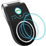 Aigoss Manos Libres Bluetooth Coche Kit con Google Assistant y Siri Kit de Coche Altavoz Inalámbrico con Ranura de Tarjeta TF, Soporta Conexión de 2 Teléfonos Simultáneamente, Negro