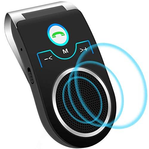 Aigoss Manos Libres Bluetooth Coche Kit con Google Assistant y Siri Kit de Coche Altavoz Inalámbrico, Soporta Conexión de 2 Teléfonos Simultáneamente, Negro