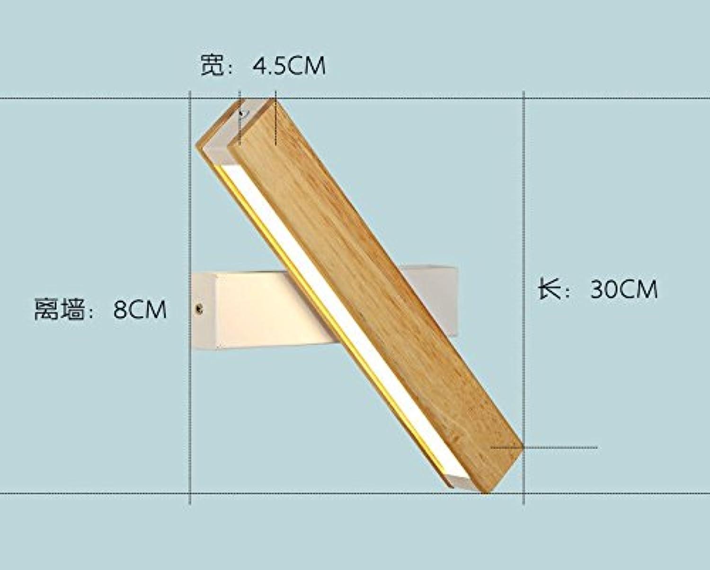 StiefelU LED Wandleuchte nach oben und unten Wandleuchten Wandleuchten Verkehrskorridor licht Massivholz Schlafzimmer Bett Wandleuchten optische Quelle, Wei