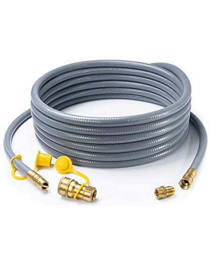 GASPRO 24 Feet 1/2 ID Natural Gas Hose,Quick Connect Disconnect with 3/8' Female by 1/2' Male for Grill,Generator,Patio Heater,Pizza Oven,etc