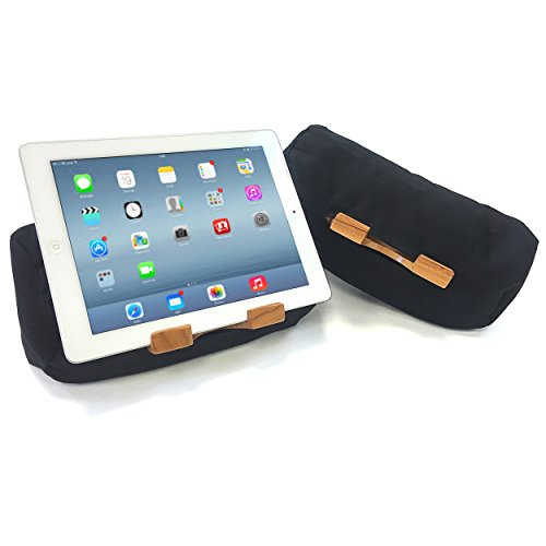 Wellehomi Lap Log iPad Pillow Stand - Eco Friendly Tablet Stand - Great for Reading in Bed - Multi-Angle Adjustable - Made in USA - Basic Black