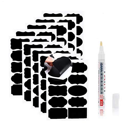 Etichette per lavagna 90 pezzi 10 formati Etichette Adesive Nero riutilizzabili impermeabili con 1 x Pennarello Cancellabileper decorare barattoli Cucina Dispensa Casa e ufficio