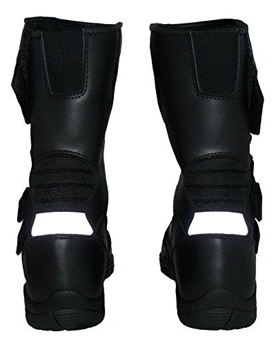 Protectwear TB-ALH-44 Motorradstiefel, Tourenstiefel, Allroundstiefel aus schwarzem Leder mit Klettverschluss, Größe 44, Schwarz - 2