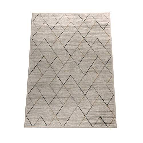 havatex Kunstseideteppich Clara geometrisch - Beige, Braun | klassisches Muster modern interpretiert | Ultra leicht, flach & Soft mit edlem Seidenglanz, Farbe:Beige, Größe:200 x 300 cm