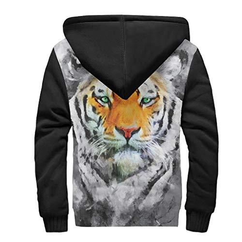 Toomjie Heren Long-Sleeve Rits Dier Leeuw Tijger Mode Fleece Sherpa Sweatshirt Thermische Hoodie Jassen Tops Plus Size
