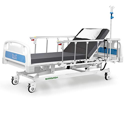 Hospital Bed Electric 3 Function with Waterproof Mattress and IV Pole